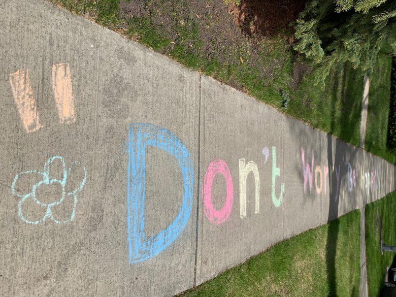 Don't Worry Be Happy sidewalk chalk art.